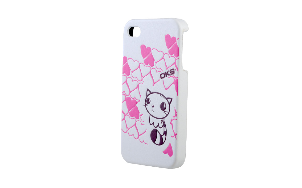 Клипкейс EMBO ТИГРЕНОК Apple iPhone4 и/кожа white