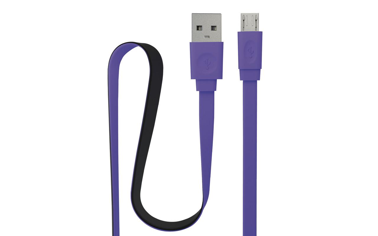 Кабель Interstep Usb-Microusb Плоский, Фиолетово-Чёрный, 1М InterStep