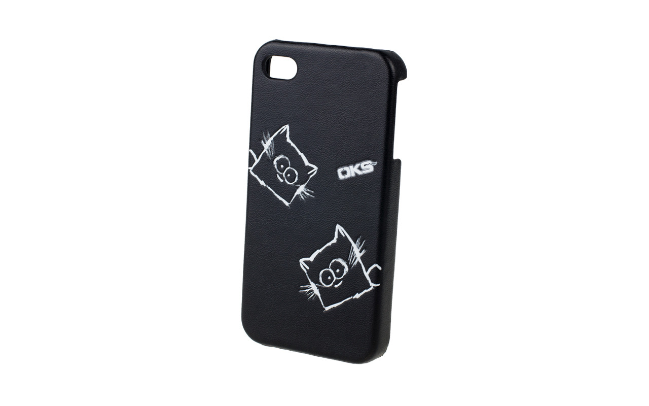 Клипкейс EMBO КОШКА Apple iPhone4 и/кожа black