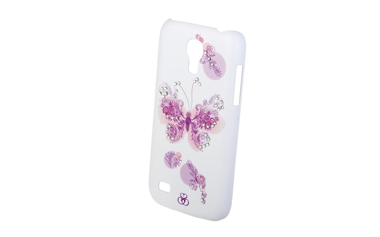 Клип Кейс - Чехол накладка Для Samsung Galaxy Ace3, Белый - Бабочка, InterStep