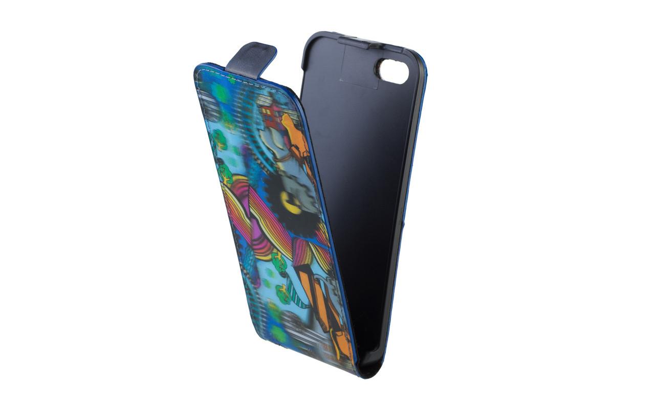Чехол Флип Кейс Для Samsung Galaxy S4, Ткань, Цветной, 3D Иллюзия, InterStep SLIM