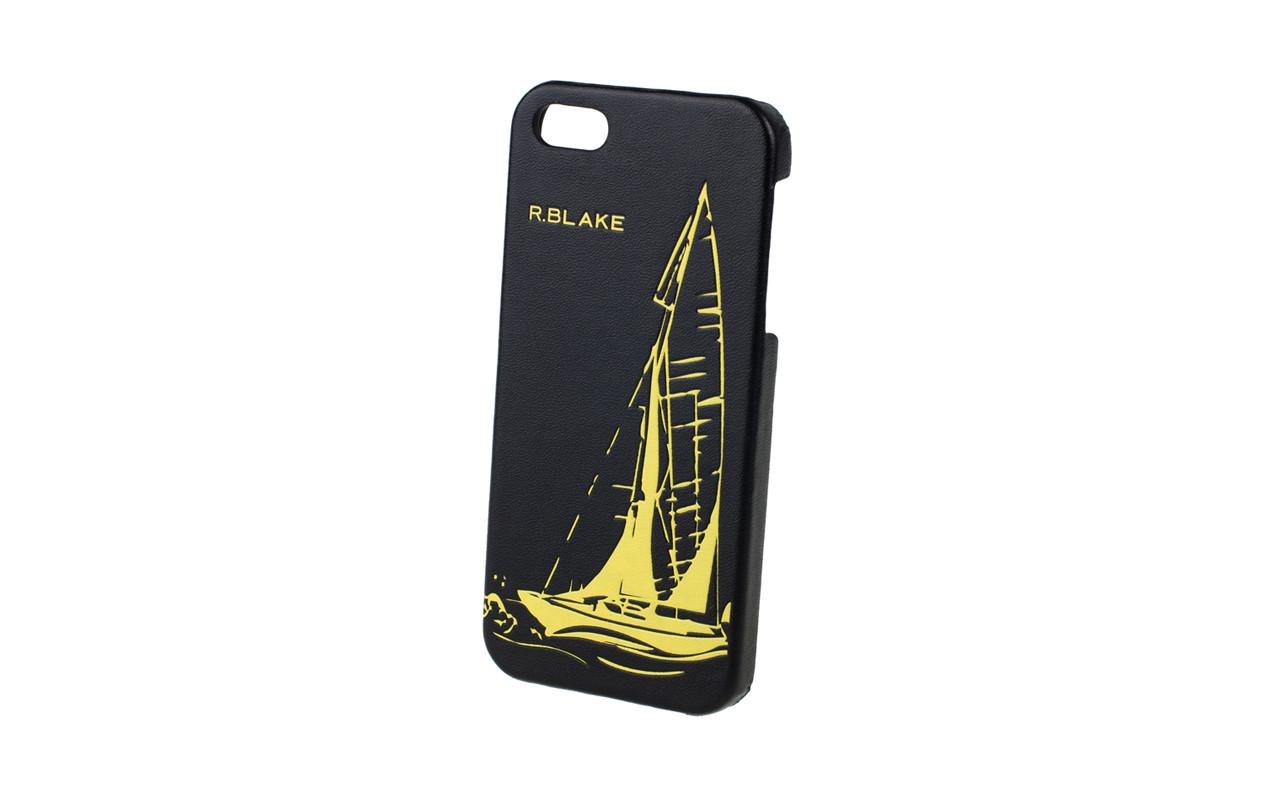 Клип Кейс - Чехол накладка Для Apple iPhone 5, Кожаный, Черный Парус, InterStep