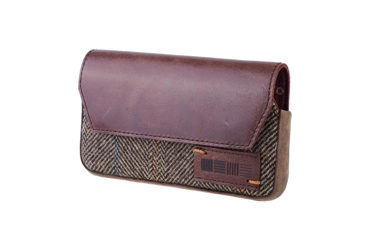 Чехол сумка Для телефона, Кожа - Нубук, серый, InterStep LEEDS Р-95
