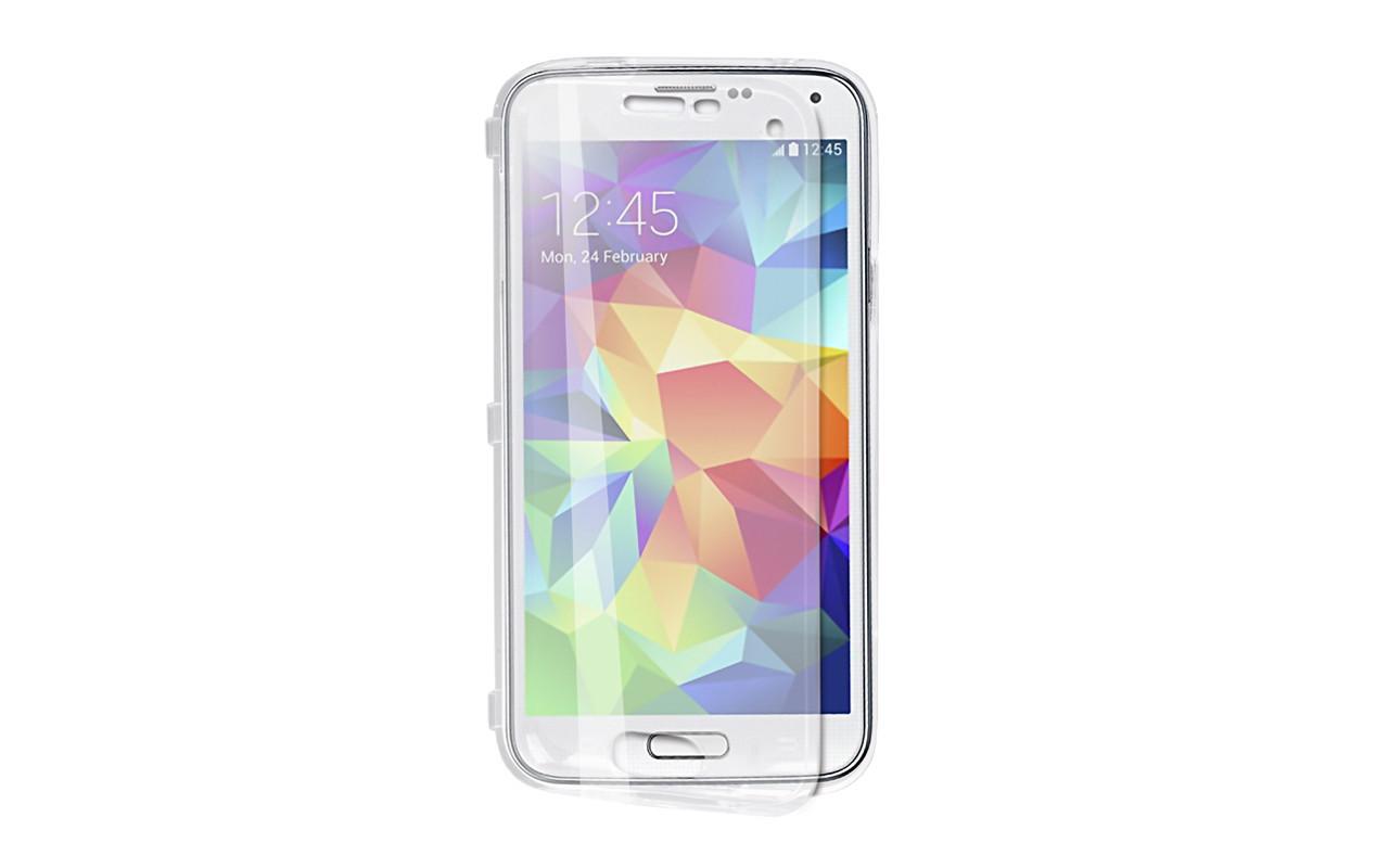Чехол Флип Кейс Для Samsung Galaxy S5 mini, Пластиковый, Прозрачный, InterStep
