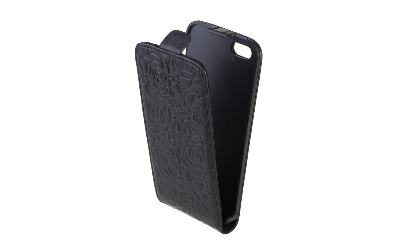 Чехол Флип Кейс Для Apple iPhone 5, Кожаный, Черный с розами, InterStep SLIM