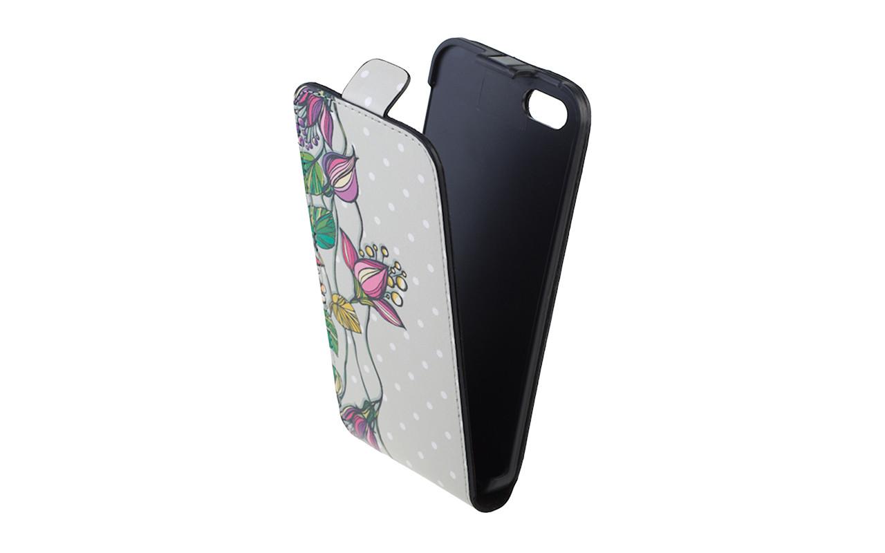 Чехол Флип Кейс Для Apple iPhone 5, Кожаный, Белый, Лилия, InterStep SLIM