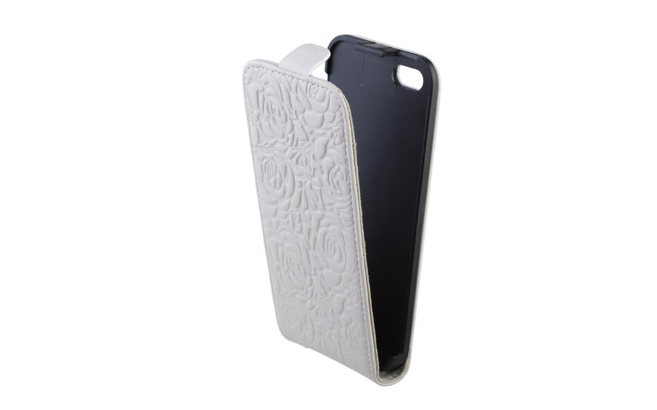 Чехол Флип Кейс Для Apple iPhone 5, Кожаный, Белый с розами, InterStep SLIM