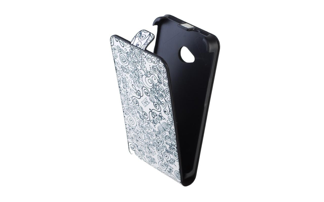 Чехол Флип Кейс Для Samsung Galaxy S4, Кожаный, Белый, Завитки, InterStep SLIM