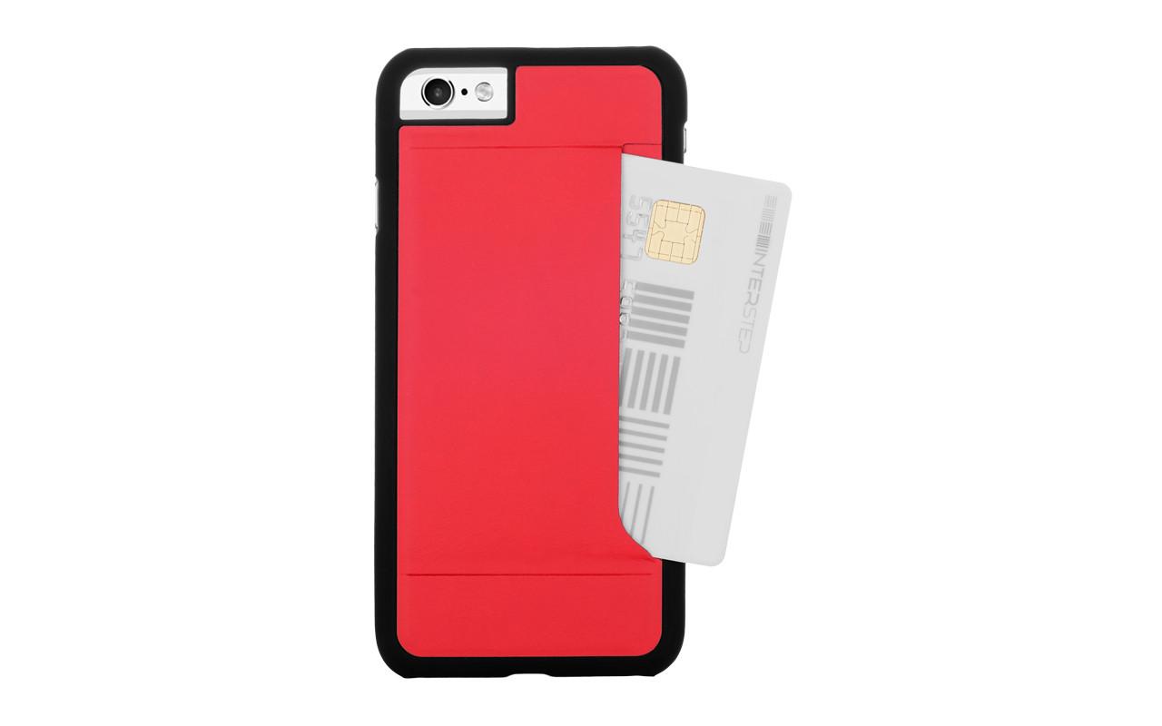 Чехол Накладка Для Телефона - Apple iPhone 7, interstep CARD-CLIP красный