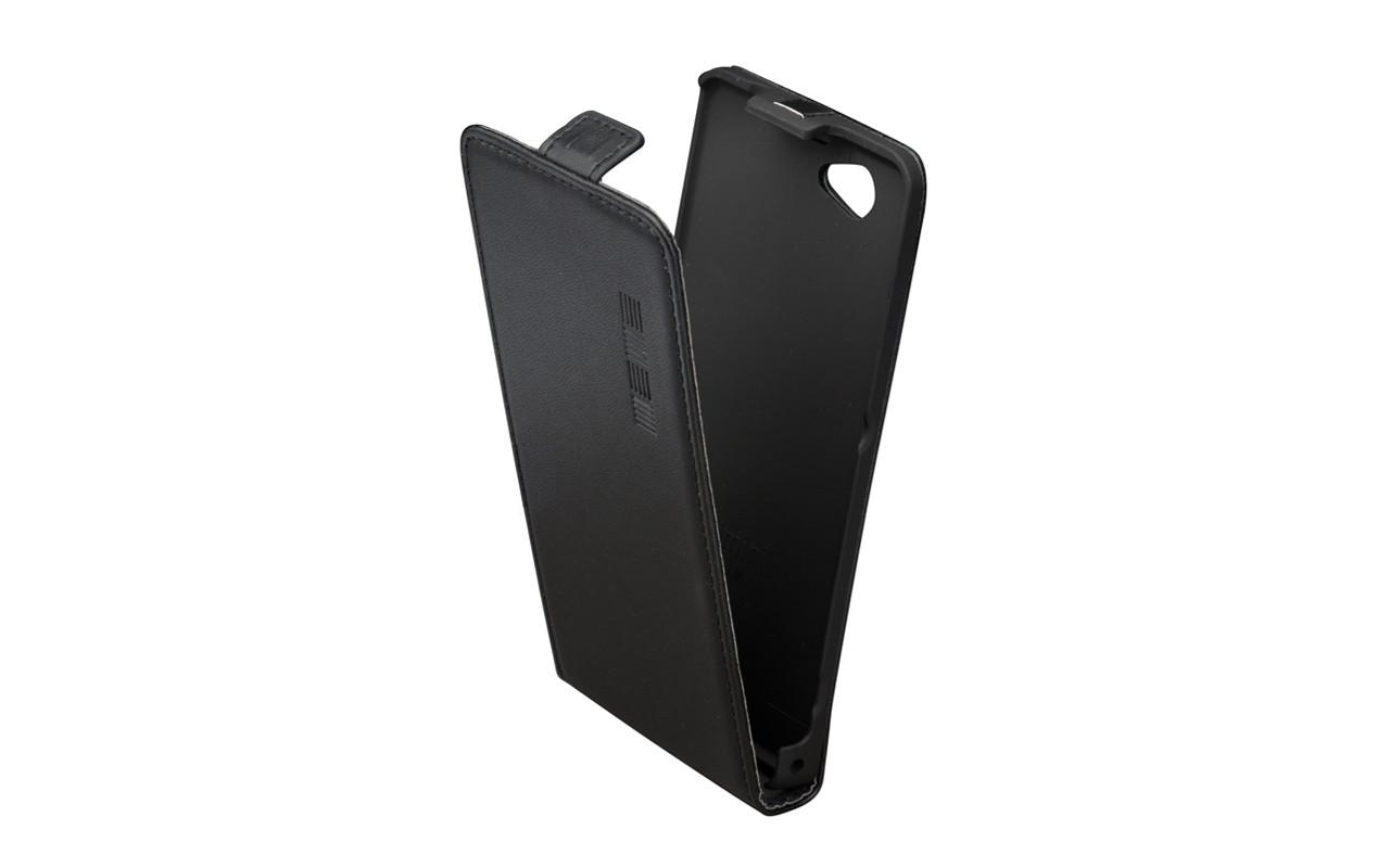 Чехол Флип Кейс Для Apple iPhone 4, Кожаный, Черный, Deerskin, InterStep SLIM