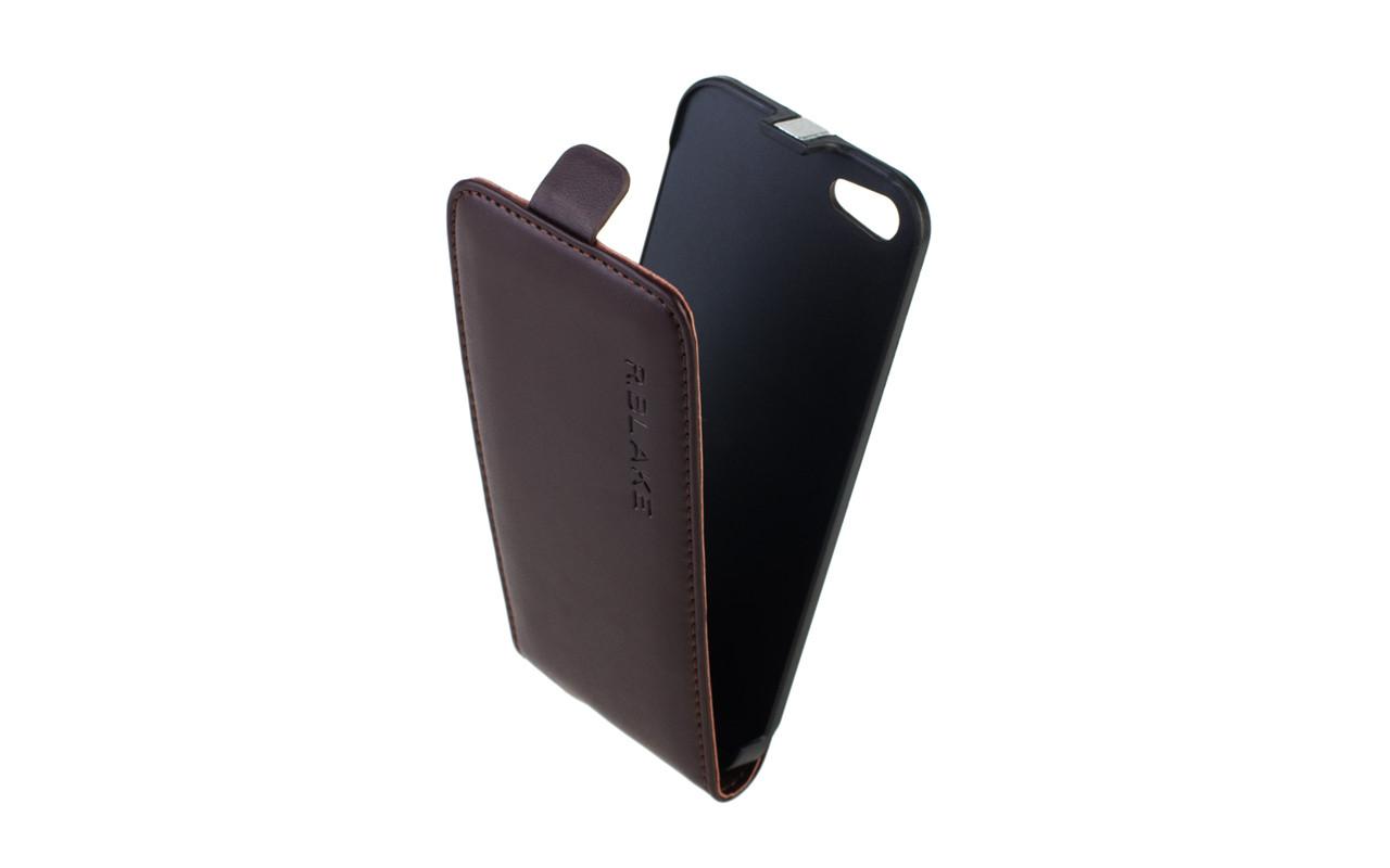 Чехол Флип Кейс Для Apple iPhone 5, Кожаный, темно-коричневый, InterStep SLIM